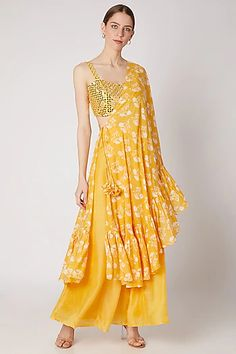 Mustard Yellow Embroidered Bustier With Pants & Printed Draped Dupatta Design by Ria Shah Label at Pernia's Pop Up Shop Party Wear Indian Dresses, Indian Gowns Dresses, Dress Indian Style, Indian Fashion Dresses, Indian Outfits, Fashion Outfits, Indian Wear, Party Dresses, Indian Fashion Designers