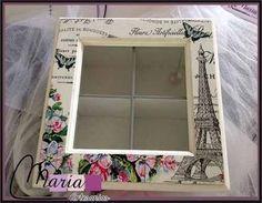 caja de te decorada. decoupage! regalos! romantico! paris!: Decoupage Vintage, Decoupage Box, Home Crafts, Diy And Crafts, Picture Frame Decor, Little Presents, Chalk Paint Projects, Tea Box, Bottle Painting
