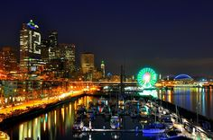 View From Pier 66 #4 by Donna Read - City,  Street & Park  Skylines ( super, washington, bowl, reflection, wheel, seattle, seahawks, reflect...