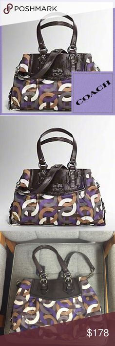 """👑Coach Madison Chainlink Carryall This fabulous Coach bag has lots of space and  sophisticated structure. A high function classic, with versatile wearing option in pop art printed sateen with leather trim. Inside zip pocket, cellphone, + multifunction pockets. Fabric lining, Hidden magnetic snap closure, Detachable strap for shoulder or crossbody wear, Handle with 8 1/4"""" drop Approx. Measurements: 15 3/4"""" (L) x 10 1/2"""" (H) 3 1/2"""" (W)  Serial Number D1082-15675  $459 retail. Coach Bags"""
