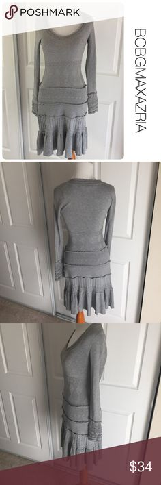 BCBGMAXAZRIA gray knit dress size xs ♦️Excellent condition. No holes, stains or piling.                                                 ♦️Materials- silk/cotton blend see material tag for details          ♦️Measurements:                               ♦️Laying flat armpit to armpit: approximately 13.5 inches                       ♦️Laying flat from the back of the neck to the bottom of the front hem is approximately 39 inches BCBGMaxAzria Dresses Midi