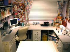 Small room, but pretty much work surface on U-shaped desk