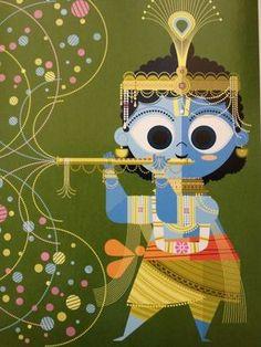 "Shri Krishna by Sanjay Patel from his wonderful ""The Little Book of Hindu Deities. Hare Krishna, Krishna Book, Krishna Art, Krishna Images, Indian Illustration, Car Illustration, Drawn Art, India Art, India Decor"