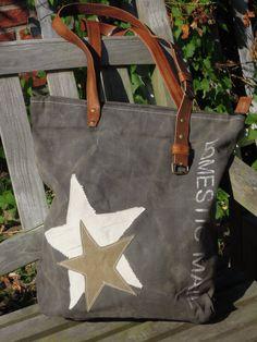 Vintage Canvas Bag - Shopping Bag 2 Starss