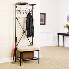 Southern Enterprises Entryway Storage Rack & Bench Seat - Black