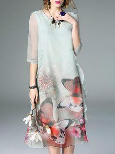 Light Green Silk Asymmetrical 3/4 Sleeve Ruffled Midi Dress