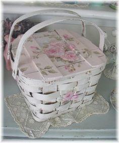 Vintage Roses Basket