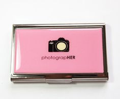 Business Card Case, Card case, business card holder, Card case for her, Pink, Photographer, Gift for Photographer, Photography Case (2949) by KellysMagnets on Etsy https://www.etsy.com/listing/157384537/business-card-case-card-case-business