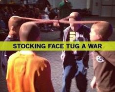 Stocking Face Tug A War, the last person with a stocking on his head is the winner. Perfect for a #familyreunion #familygamenight or #youthgroup. You could even do a tournament with group brackets :-D