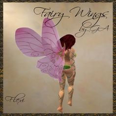 *Goddess* Fairy Wings Pink Rose Butterfly