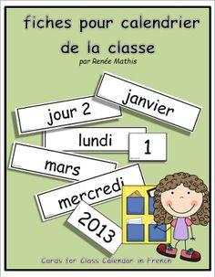 Affichez la date de façon simple, facile à lire et en français! Voici une série de 69 fiches pour le calendrier de votre classe. Des fiches pour les jours (de 1 à 5), les jours de la semaine, les mois, les chiffres (de 1 à 31) et les années (de 2013 à 2017). En plus, des fiches vides sont aussi incluses pour la personnalisation.  $4.00