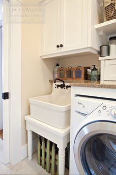 Laundry sink ideas laundry room traditional with farmhouse sink farmhouse sink utility sink Laundry Room Sink, Basement Laundry, Farmhouse Laundry Room, Farmhouse Sink Kitchen, Laundry Room Organization, Laundry Room Design, Laundry Rooms, Organization Ideas, Storage Ideas