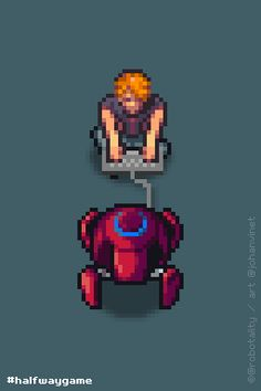 """HALFWAY (©Robotality) """"Josh enjoying a new toy."""" I just finished my very last animation for Halfway (not this one, this one was a bonus one). Remember guys, Halfway is a futuristic turn-based strategy game. I know you all want a release date, throw me your money and I'll tell y… Ahahah! Just kidding, I even don't know myself. But it shouldn't be too long ;)"""