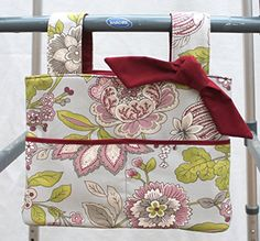mothers day gift for grandma walker bag tote wheelchair bag grandma gift burgundy and gray floral *** Want to know more, click on the image.-It is an affiliate link to Amazon.