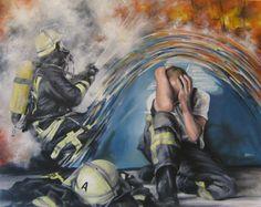 """"""" Ausgebrannt"""" Feuerwehr, firefighter ,Acrylgemälde , burned out"""