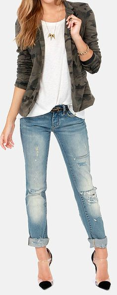 Washed Camo Blazer, boyfriend jeans cuffed with a white tee and cap toe pumps