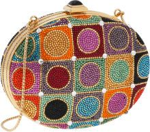 Judith Leiber Full Bead Multicolor Oval Minaudiere Evening Bag with Cabochon Closure