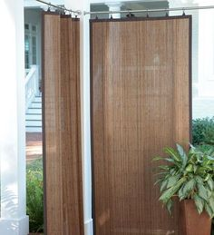 these will be perfect for my future pergola. Weather Resistant Dark Brown Outdoor Bamboo Curtain Panels these will be perfect for my future pergola. Patio Pergola, Outdoor Privacy, Backyard Patio, Backyard Privacy, Pergola Kits, Gazebo, Outdoor Rooms, Outdoor Living, Outdoor Decor