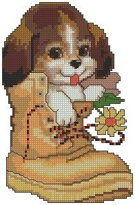 Cross Stitch Charts Advanced Embroidery Designs - Puppy in a Boot Cross Stitch Love, Cross Stitch Animals, Cross Stitch Charts, Cross Stitch Designs, Cross Stitch Patterns, Cat Cross Stitches, Cross Stitching, Cross Stitch Embroidery, Hand Embroidery Patterns