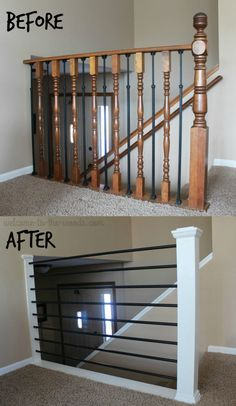Stair Railing DIY Makeover - I changed my outdated oak balusters into something horizontal, modern, and sleek. You will love this stair railing DIY makeover all done in a week! Home Remodeling Diy, Home Renovation, Diy Stair Railing, Stairway Railing Ideas, Diy Interior Railing, Banister Ideas, Modern Railings For Stairs, Outdoor Railings, Indoor Railing