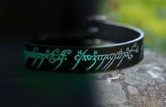 Glow in the Dark Leather Dog Collar with The One Ring Elvish Script - someone buy me two of these