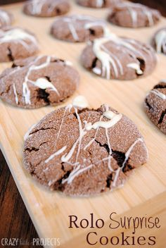 These Rolo cookies are amazingly good. Rolo cookies recipe involves chocolate cookie dough with a Rolo baked inside and then drizzled with white chocolate.
