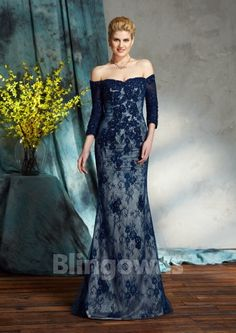 3/4 Sleeves Zipper Ruched Floor Length Off-the-shoulder Lace Sheath Mother Of The Bride Dresses