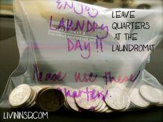 Leave quarters at the laundromat.  Christmas 365: Day 34 - Livin in San Diego Livininsd.com #payitforward #randomactsofkindness