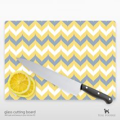 Fancy Chevron Glass Cutting Board YOU CHOOSE COLOR by TealPoodle, $36.00