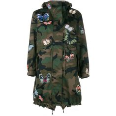 VALENTINO Butterfly Embroidered Camouflage Parka Jacket (319.760 RUB) ❤ liked on Polyvore featuring outerwear, jackets, parka jacket, camouflage jacket, oversized camo jacket, hooded parka jacket and camo print jacket