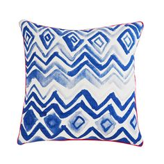 100% linen cushion hand screen printed with hand painted chevron design in blue finished with pink piping.  Dimensions: 50cm x 50cm (feather insert included)  Care Instructions: Remove insert and hand wash or gentle machine wash separately with gentle laundry liquid, line dry and iron on reverse whilst slightly damp. Please do not bleach, tumble dry or dry clean.