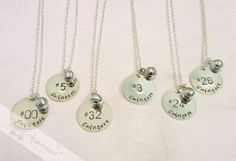 Softball Team Necklace Set - Hand Stamped - Personalized  with Team Name and Player Numbers