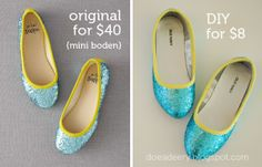 Add some sparkle to your ballet flats with glitter, bias tape and tacky glue!