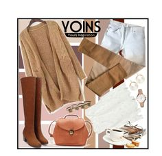 """""""Yoins!"""" by ina-kis ❤ liked on Polyvore featuring Maison Margiela, FOSSIL, women's clothing, women's fashion, women, female, woman, misses, juniors and brown"""