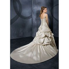 Satin Beaded Dropped Neckline with Elegant Shoulder Straps in Rouched Bodice and Asymmetrical Pick up Skirt and Chapel Train New Luxurious Wholesale Wedding Dress WD11