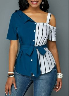 Stylish Tops For Girls, Trendy Tops, Trendy Fashion Tops, Trendy Tops For Women Latest African Fashion Dresses, African Print Fashion, Trendy Tops For Women, Blouses For Women, Cold Shoulder Bluse, Chic Outfits, Fashion Outfits, Denim Outfits, Fashion Women