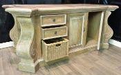 Mahogany Kitchen Island Large Corbels Hand Painted & Distressed French Oak Finish- $3,844.00