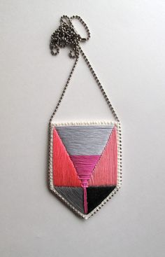 Geometric pendant necklace with color block by AnAstridEndeavor