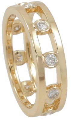 Eternity ring with rubover set diamonds.