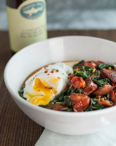 Recipe: Polenta Bowl with Garlicky Spinach, Chicken Sausage & Poached Egg Recipes from The Kitchn | The Kitchn