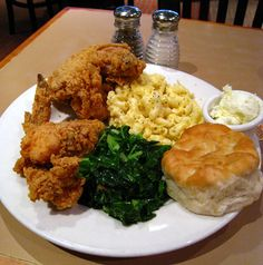 Southern comfort food - yum Fried Chicken, Greens, Biscuit & Mac & cheese.  OH, don't forget the Sweet Tea!