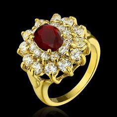 Luxury Flower Shape Red CZ Diamond Gold Plated Ring