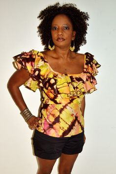 Yellow And Brown Tie Dye Blouse, African print Blouse, Off Shoulder Blouse, Handmade Blouse