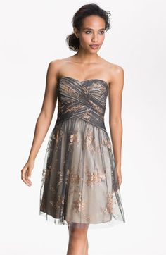 Hailey by Adrianna Papell Strapless Glitter Tulle Dress | Nordstrom