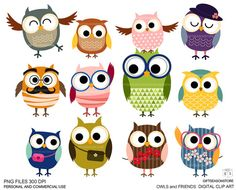 Owls and friends Digital clip art for Personal and Commercial use - INSTANT DOWNLOAD on Etsy, $2.00