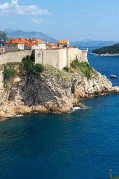 The medieval city walls of Dubrovnik - Croatia.