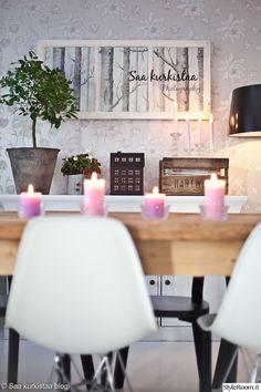 ruokahuone,ruokailutilat,ruokailuryhmä,ruokapöytä,design,tyylikäs,koriste-esineet,kynttilät,vanha ikkuna