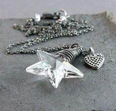 Crystal Star Necklace Oxidized Silver Clear Swarovski by Hildes