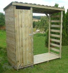 Wooden Garden Shed Log Store Storage Heavy Duty Firewood Shelves Pressure Treatd