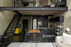 dark industrial loft